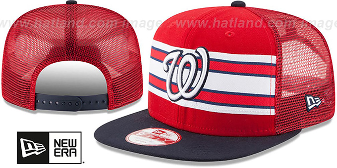Nationals 'THROWBACK-STRIPE SNAPBACK' Red-Navy Hat by New Era : pictured without stickers that these products are shipped with