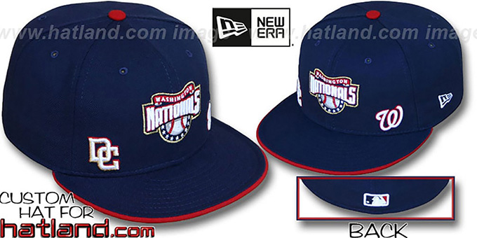 Nationals 'TRIPLE THREAT' Navy Fitted Hat by New Era : pictured without stickers that these products are shipped with