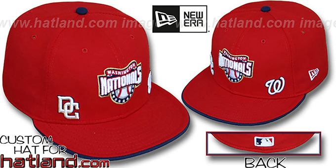 Nationals 'TRIPLE THREAT' Red Fitted Hat by New Era : pictured without stickers that these products are shipped with