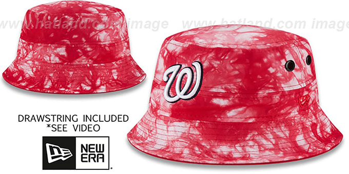 Nationals 'TYE-DYE ZONE' Bucket Hat by New Era : pictured without stickers that these products are shipped with