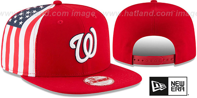 Nationals 'USA FLAG-SIDE SNAPBACK' Red Hat by New Era : pictured without stickers that these products are shipped with