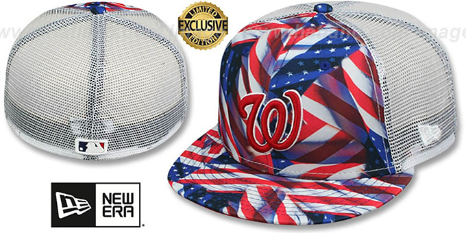 Nationals 'USA WAVING-FLAG MESH-BACK' Fitted Hat by New Era : pictured without stickers that these products are shipped with