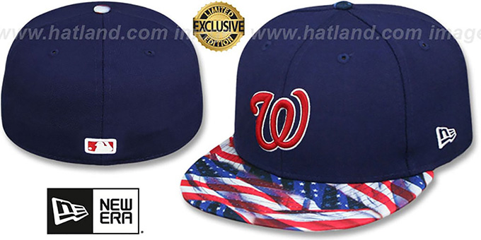 Nationals 'USA WAVING-FLAG' Navy Fitted Hat by New Era : pictured without stickers that these products are shipped with
