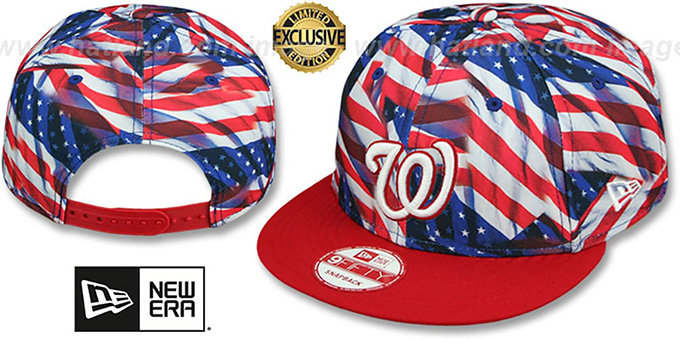 Nationals 'USA WAVING FLAG SNAPBACK' Flag-Navy Hat by New Era : pictured without stickers that these products are shipped with