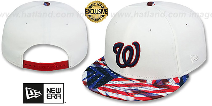 Nationals 'USA WAVING FLAG SNAPBACK' White-Flag Hat by New Era : pictured without stickers that these products are shipped with