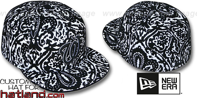 Nationals 'VELVET PAISLEY' Black-White Fitted Hat by New Era : pictured without stickers that these products are shipped with