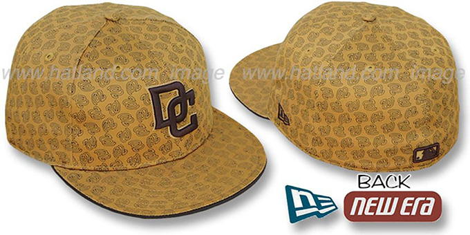 Nationals W 'ALL-OVER FLOCKING' Wheat-Brown Fitted Hat by New Era : pictured without stickers that these products are shipped with