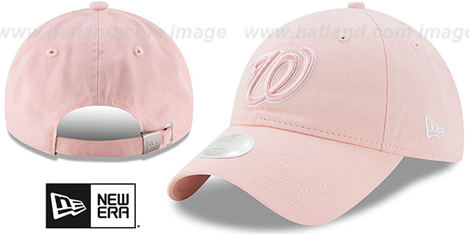 Nationals 'WOMENS PREFERRED PICK STRAPBACK' Light Pink Hat by New Era : pictured without stickers that these products are shipped with
