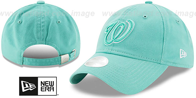 Nationals 'WOMENS PREFERRED PICK STRAPBACK' Mint Hat by New Era : pictured without stickers that these products are shipped with