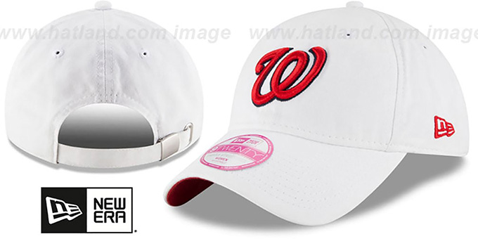 Nationals 'WOMENS PREFERRED PICK STRAPBACK' White Hat by New Era : pictured without stickers that these products are shipped with