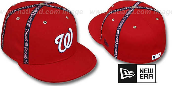 Nationals 'X-T' Fitted Hat by New Era - red : pictured without stickers that these products are shipped with