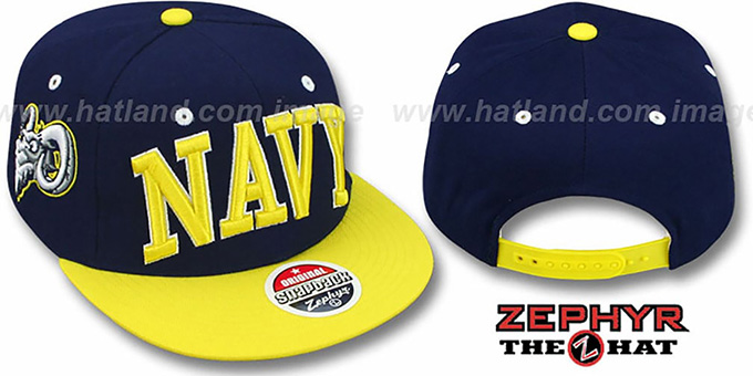 Navy '2T SUPER-ARCH SNAPBACK' Navy-Gold Hat by Zephyr : pictured without stickers that these products are shipped with