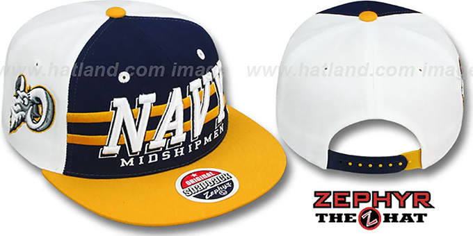 Navy '2T SUPERSONIC SNAPBACK' Navy-Gold Hat by Zephyr : pictured without stickers that these products are shipped with