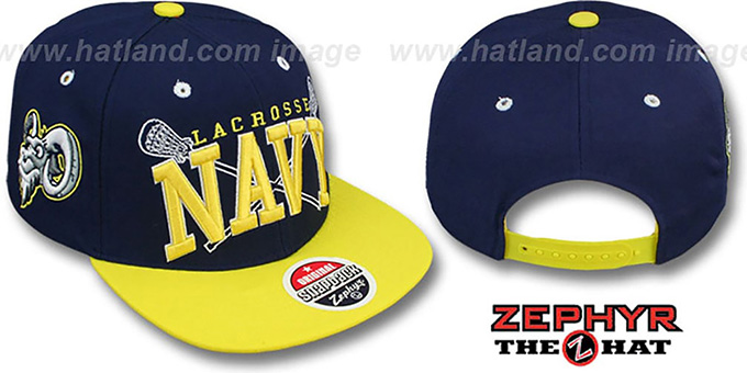 Navy 'LACROSSE SUPER-ARCH SNAPBACK' Navy-Yellow Hat by Zephyr : pictured without stickers that these products are shipped with
