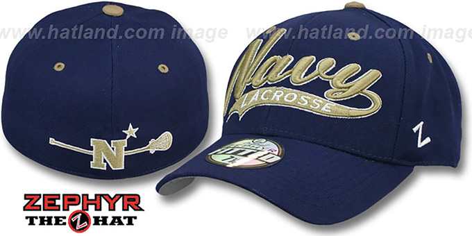 Navy 'SWOOP LACROSSE' Navy Fitted Hat by Zephyr : pictured without stickers that these products are shipped with