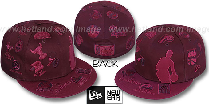 NBA 'SILHOUETTE ALL-OVER' Maroon-Burgundy Fitted Hat by New Era : pictured without stickers that these products are shipped with