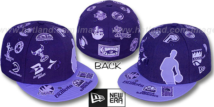 NBA 'SILHOUETTE ALL-OVER' Purple-Lavender Fitted Hat by New Era : pictured without stickers that these products are shipped with