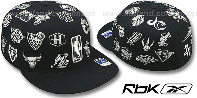 NBA 'THROWBACK ALL-OVER' Black Fitted Hat by Reebok : pictured without stickers that these products are shipped with