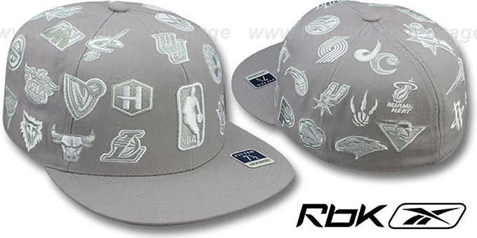 NBA 'THROWBACK ALL-OVER' Grey Fitted Hat by Reebok : pictured without stickers that these products are shipped with