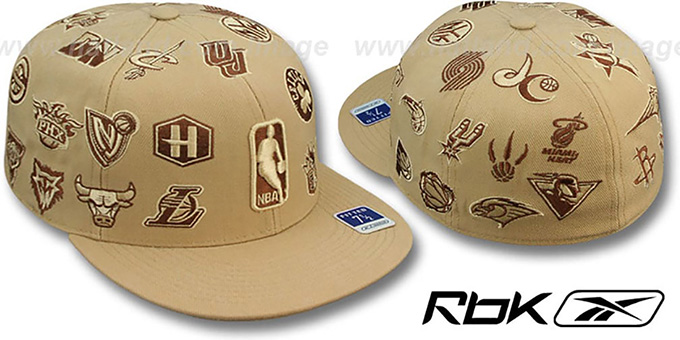 NBA 'THROWBACK ALL-OVER' Tan Fitted Hat by Reebok : pictured without stickers that these products are shipped with