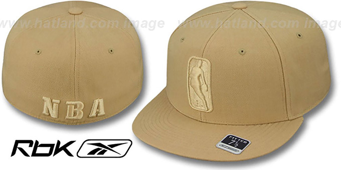 NBA 'TONAL LOGOMAN' Tan Fitted Hat by Reebok : pictured without stickers that these products are shipped with