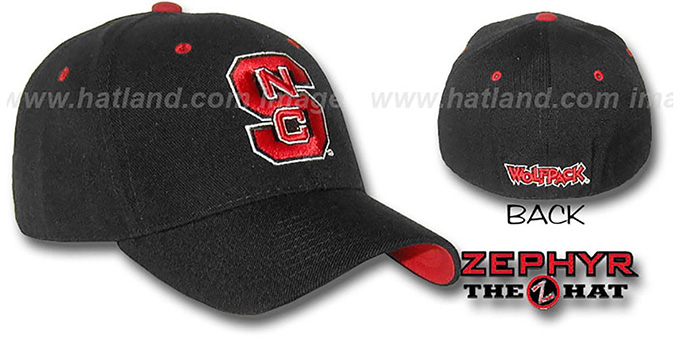 NC State 'DH' Fitted Hat by ZEPHYR - black : pictured without stickers that these products are shipped with
