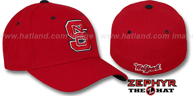 NC State 'DH' Fitted Hat by ZEPHYR - red : pictured without stickers that these products are shipped with