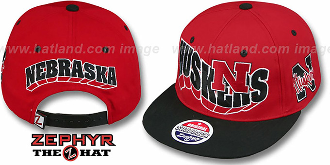 Nebraska '2T FLASHBACK SNAPBACK' Red-Black Hat by Zephyr : pictured without stickers that these products are shipped with