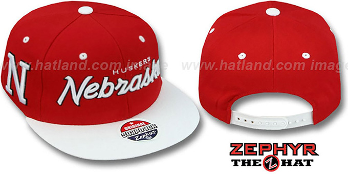 Nebraska '2T HEADLINER SNAPBACK' Red-White Hat by Zephyr : pictured without stickers that these products are shipped with