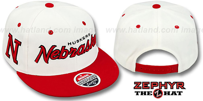 Nebraska '2T HEADLINER SNAPBACK' White-Red Hat by Zephyr : pictured without stickers that these products are shipped with