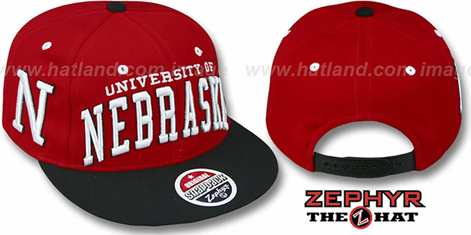 5836f69062fe2 Nebraska  2T SUPER-ARCH SNAPBACK  Red-Black Adjustable Hat by Zephyr