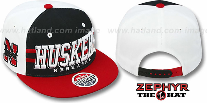 Nebraska '2T SUPERSONIC SNAPBACK' Black-Red Hat by Zephyr : pictured without stickers that these products are shipped with