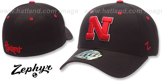 Nebraska 'DH' Black Fitted Hat by ZEPHYR : pictured without stickers that these products are shipped with