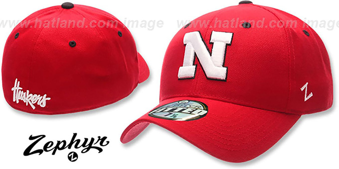 Nebraska 'DH' Fitted Hat by ZEPHYR - red : pictured without stickers that these products are shipped with