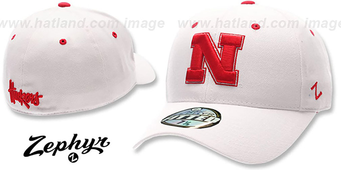 Nebraska 'DH' Fitted Hat by ZEPHYR - white : pictured without stickers that these products are shipped with