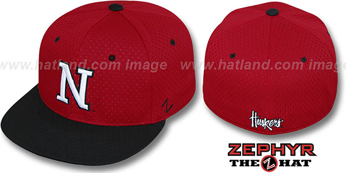 Nebraska 'DOUBLE PLAY MESH' Red-Black Fitted Hat by Zephyr : pictured without stickers that these products are shipped with