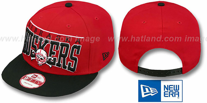 Nebraska 'LE-ARCH SNAPBACK' Red-Black Hat by New Era : pictured without stickers that these products are shipped with