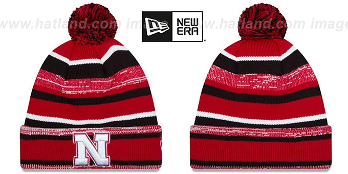 Nebraska 'NCAA-STADIUM' Knit Beanie Hat by New Era : pictured without stickers that these products are shipped with