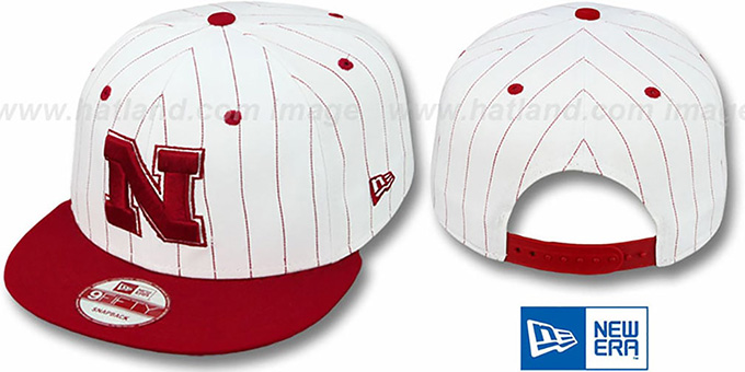 Nebraska 'PINSTRIPE BITD SNAPBACK' White-Red Hat by New Era : pictured without stickers that these products are shipped with
