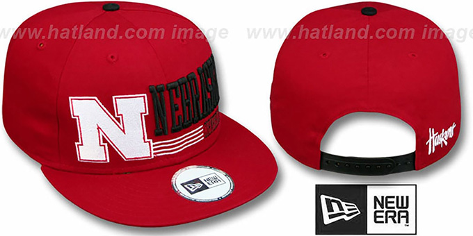 Nebraska 'RETRO-SNAPBACK' Red Hat by New Era : pictured without stickers that these products are shipped with