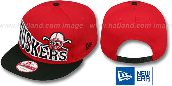 Nebraska 'STOKED SNAPBACK' Red-Black Hat by New Era : pictured without stickers that these products are shipped with
