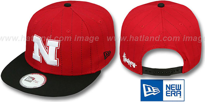 Nebraska 'TEAM-BASIC PINSTRIPE SNAPBACK' Red-Black Hat by New Era : pictured without stickers that these products are shipped with