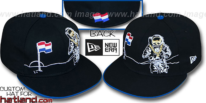 Netherlands 'MOONMAN' Black Fitted Hat by New Era : pictured without stickers that these products are shipped with