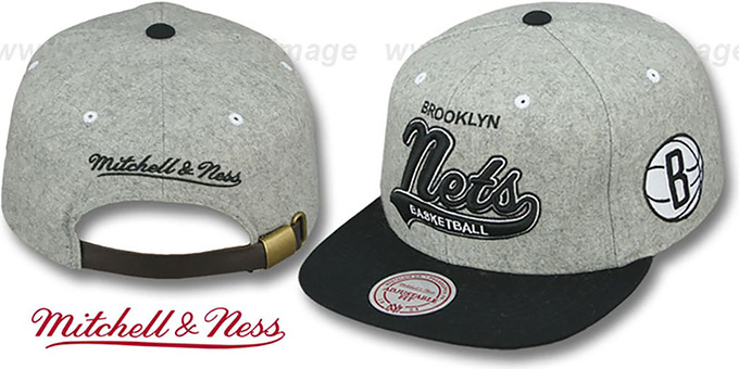Nets '2T TAILSWEEPER STRAPBACK' Grey-Black Hat by Mitchell and Ness : pictured without stickers that these products are shipped with