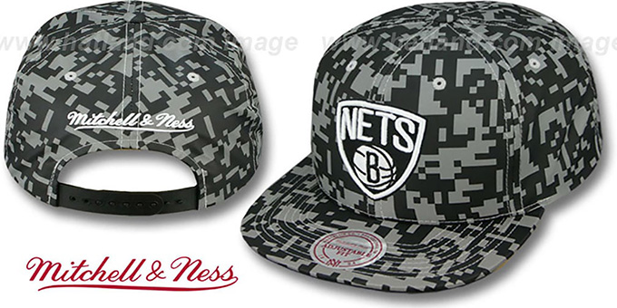 Nets '3M DIGI-CAMO SNAPBACK' Black-Grey Hat by Mitchell & Ness : pictured without stickers that these products are shipped with