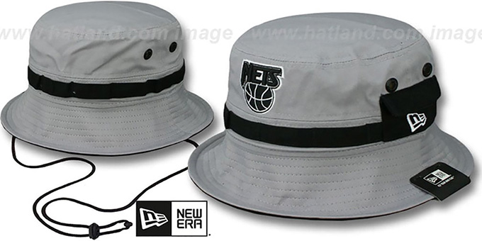 Nets 'ADVENTURE' Grey Bucket Hat by New Era : pictured without stickers that these products are shipped with
