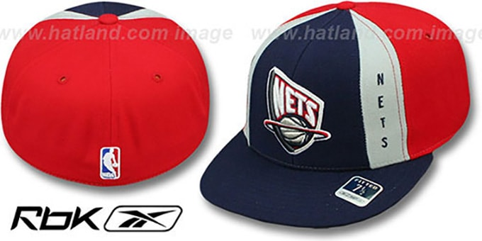 Nets 'AJD THROWBACK PINWHEEL' Navy-Red Fitted Hat by Reebok
