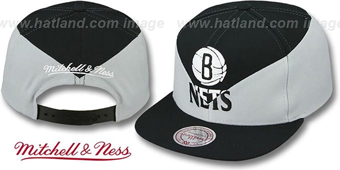 Nets 'AMPLIFY DIAMOND SNAPBACK' Black-Grey Hat by Mitchell and Ness : pictured without stickers that these products are shipped with