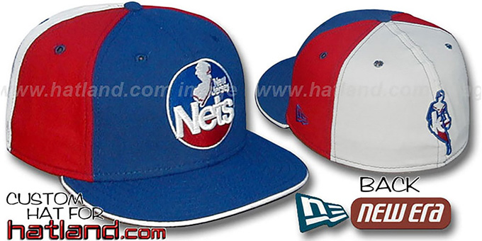 Nets BACK 'INSIDER PINWHEEL' Royal-Red-White Fitted Hat : pictured without stickers that these products are shipped with