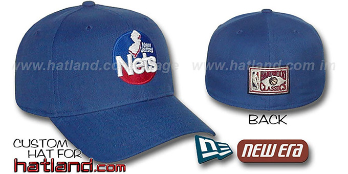 Nets 'BASIC HARDWOOD' Fitted Hat by New Era - royal : pictured without stickers that these products are shipped with
